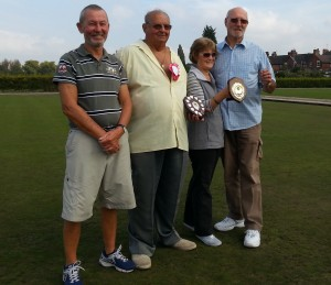 Winning doubles players together with Runners up: Left to Right: Winners: xxxxx xxxxxx & xxxxx xxxxxxx together with runners up: Pam Ewing & Alan Green