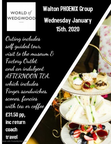 World of Wedgwood & Afternoon Tea-Wednesday 15th. January 2020